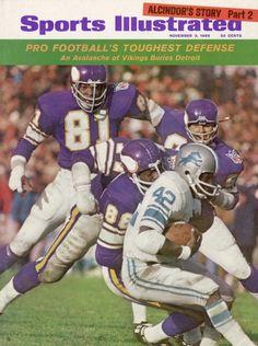 November 3 1969 Sports Illustrated  Minnesota Vikings Carl Eller Alan Page Gary Larsen and Roy Winston in action vs Detroit Lions Altie Taylor.