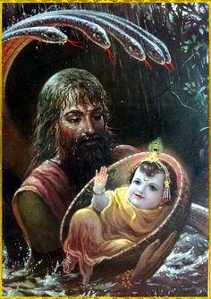 Krishna'a father Vasudev carrying newborn Krishna to safety at Yashoda and Nanda's place.