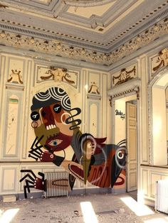 """Saatchi Gallery : We like this work by graffiti artist Reka who chanced upon the ideal canvas. """"Such a rare opportunity to paint inside an old chateau. Usually abandoned locations are covered in paint by the time you get to it. WIN. Such a beautiful setting."""""""