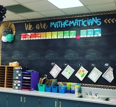 have this good looking of a math board without all of colorful and useful math posters! Can't wait to begin the year and fill this board with anchor charts and vocab! Math Bulletin Boards, Math Boards, 3rd Grade Classroom, Middle School Classroom, Future Classroom, High School, Math Classroom Decorations, Classroom Ideas, Superhero Classroom