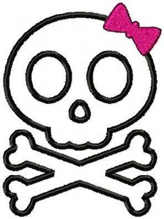 Embroidery Machine Applique Design - Girl Skull and Crossbones - 3 Sizes