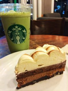 Guilt Free Indulgence Cake and a refreshing cup of Iced Green Tea Latte