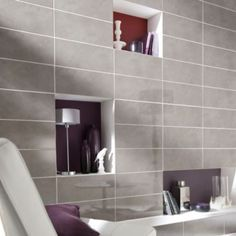 Colours Pack of 10 Anthracite Voyage Linear Wall Tiles x 3454976005298 Wall Tiles, Tile Floor, Family Room, Bathtub, Colours, Mirror, Furniture, Bathroom Ideas, Kitchen Ideas