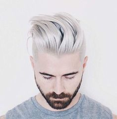 Mens Grey Platinum Blonde Silver Hair