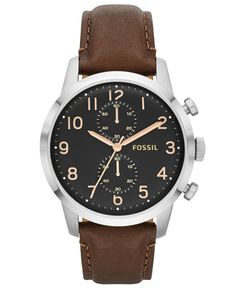 a7e28d110091d Fossil Men s Townsman Brown Leather Strap Watch 44mm FS4873 Casual Watches