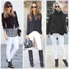 Leia aqui!: http://imaginariodamulher.com.br/look/?go=2lVT627 10 Looks com calça branca com bota marrom e onde Encontrar