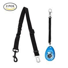 Giveet Dog Seat Belt Leash with Elastic Bungee Buffer and Dog Training Clicker, Adjustable Cat Safety Leads Vehicle Car Seatbelt Harness for Large, Medium or Small Dogs, Black, 2 of Pack -- To view further for this item, visit the image link. (This is an affiliate link and I receive a commission for the sales)