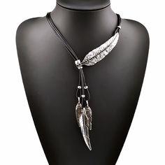 Neue Böhmischen Stil Seil Kette Blatt Feder Muster Anhänger Halskette Für Frauen Schmuck Hals Aussage Halskette