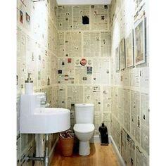 Olha que legal, parede de jornal. Esse esta no banheiro, mas você pode colocar na sala ou no quarto. #inspiração #dagringa