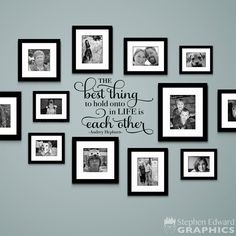 The Best Thing to hold onto in Life is each other Decal - Audrey Hepburn Quote - Gallery Wall Decor - home deco - Pictures on Wall ideas Photo Wall Decor, Family Wall Decor, Living Room Decor, Picture Wall Living Room, Family Clock, Family Room Decorating, Living Rooms, Living Spaces, Family Pictures On Wall