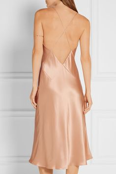 Champagne silk-charmeuse bias cut slip dress | Cushnie et Ochs | Fall 2016 Collection