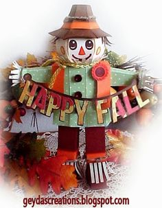 "Don't you feel all warm and cozy when you look at this little guy!  Fall is almost here so why not make the cutest Scarecrow you've ever seen like the one Misty made!  He's just too cute, right!!  From the top of his head to the tip of his toes, you know it is going to be a ""happy fall""!   This little guy is in LEAVES ARE FALLING SVG KIT.  Awesome, Misty!"