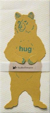 Blackbird Letterpress Grizzly Bear Hug Card. I need to do more die cutting @CabinPress Studio!