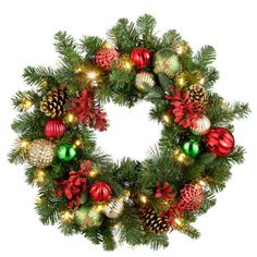 Merry and Bright Lighted Christmas Wreath