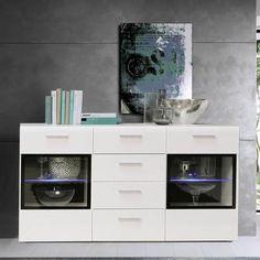 SLATE Buffet contemporain blanc brillant - L 150 cm - Achat / Vente buffet - bahut SLATE Buffet blanc/noir Bois aggloméré - Les soldes* sur Cdiscount ! Cdiscount