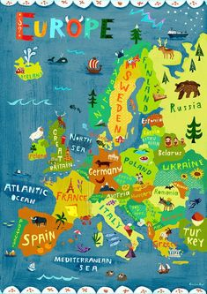 Items similar to Europe Map Illustration / Digital print poster / Kids Room Wall Art Decor / Travel Children Learning Geography Sweden Germany Italy France on Etsy Travel Maps, Travel Posters, Europe Travel Tips, Paris Travel, France Travel, Travel Destinations, Art Carte, Germany And Italy, Germany Poland