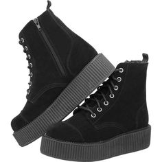 Black Suede Combat Creeper Boots ? T.U.K. Shoes | T.U.K. Shoes (66.210 CLP) ❤ liked on Polyvore featuring shoes, boots, ankle booties, creepers, black, suede ankle booties, suede booties, combat booties, black ankle booties and black creeper boots