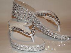 Rhinestone Bling Flip Flop Wedge Sandals Bridal door EVRhinestones, $55,00
