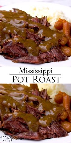 This easy Mississippi Pot Roast Recipe will quickly become your favorite meal for the Crock Pot, Instant Pot, or the Oven! You only need 4 ingredients and you can make an easy brown gravy at the end! dinner for 4 Mississippi Pot Roast Pot Roast Recipes, Slow Cooker Recipes, Cooking Recipes, Chicken Recipes, Recipe For Pot Roast In The Oven, Quick Crock Pot Recipes, Recipes For Round Steak, Boneless Chuck Roast Recipes, Slow Cooker Pot Roast