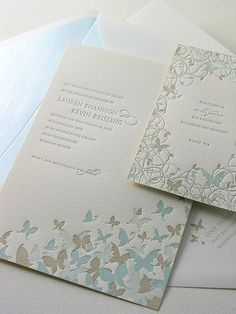 Pastel Butterfly Letterpress Invitation. A delicate flurry of butterflies in soft hues ushers in the arrival of spring. Butterfly Drift invitation, $1,689 for 100 invitation suites, Elum