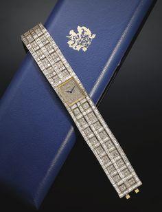 Piaget A VERY ELEGANT LADY'S YELLOW GOLD AND DIAMOND-SET RECTANGULAR BRACELET WATCH REF 41541 CASE 387853 MVT 8104943 CIRCA 1980