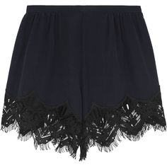 Chloé Lace-trimmed silk crepe de chine shorts ($885) ❤ liked on Polyvore featuring shorts, bottoms, zipper shorts, scalloped edge shorts, silk shorts, lace trim shorts and short shorts