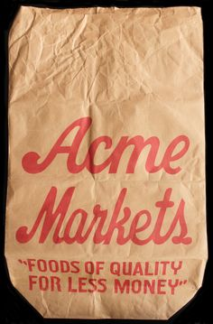 Acme Markets shopping bag, 1940s. Located at 329 Main Street.