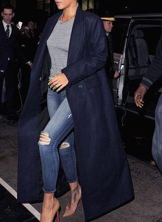 CÉLINE Paris Navy Blue Wool Long Coat Jacket Phoebe Philo FR 42 UK 14 L Large Ladies
