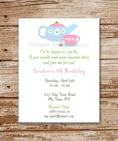 DIY Printable  TEA Party Invitation    by CelebrateLilThings, $12.00