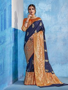 776186 Blue color family Party Wear Sarees, Traditional Sarees in Handloom fabric with Thread, Zari work with matching unstitched blouse. Designer Sarees Wedding, Saree Wedding, Wedding Wear, Blue Wedding, Indian Silk Sarees, Casual Saree, Whatsapp Messenger, Bollywood Saree, Traditional Sarees