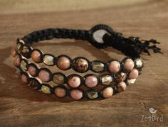 Hey, I found this really awesome Etsy listing at https://www.etsy.com/listing/231997498/pink-rhodonite-bracelet-pink-and-black