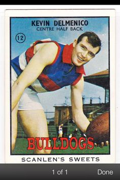 Kevin Delmenko Western Bulldogs, Australian Football, Great Team, Legends, Champion, The Past, Action, Baseball Cards, Logo