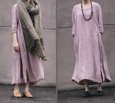 Pink women dress Cotton Linen women dress Long by fashiondress6, $85.00