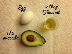 Hair Mask: Avocado, Egg, Olive Oil. I add a little bit of Honey as well, rinses out great and leaves hair feeling healthy
