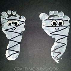 Have the kids make some adorable footprint mummies for a halloween craft!