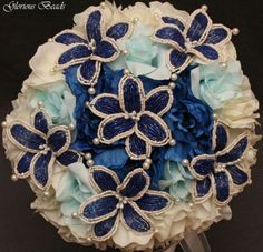 BEADED-LILY-Bridal-Bouquet-Wedding-Flower-18-Piece-Set-ROYAL-BLUE-IVORY-Peony Blue Wedding Flowers, Flower Bouquet Wedding, Bridesmaid Bouquet, Beaded Bouquet, French Beaded Flowers, Alternative Bouquet, Wedding Wishes, Boutonnieres, Corsages