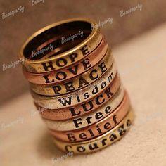 Bague Vintage Anneau Mots Voeux Ring Fashion DIA Intérieur 1 72cm Bijoux Neuf   eBay