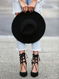 Jeffrey Campbell + Free People Hierro Heels // Lace-up black heels