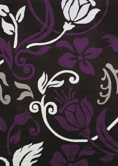 Contemporary Modern 8x11 Oversize Area Rug Black And White Purple Plum  Floral In Home U0026 Garden