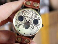 Cute owl watch retro style watch women wrist watch men wrist watch brown leather