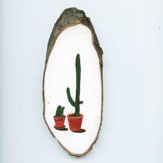 Mini schilderijtje op boomschijfje 'Cactussen' www.stokwolf.nl