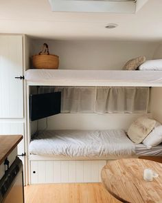A collection of Millard caravan renovations to inspire your own DIY renovations. These Australian renovations include total gus to minor refreshes. Caravan Bunk Beds, Diy Caravan, Bunk Bed Ladder, Caravan Decor, Retro Caravan, Caravan Ideas, Caravan Storage Ideas, Rv Bunk Beds, Caravan Renovation Diy