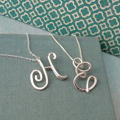 Small Calligraphy Initial Necklace in sterling by Laladesignstudio, $60.00
