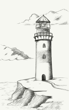 Mini Drawings, Easy Drawings, Lighthouse Art, Shoe Art, Watercolor Cards, Pictures To Draw, Art Inspo, Painting & Drawing, Iron