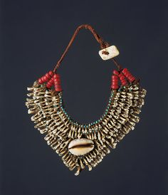 Northeast India - Assam | Naga man's necklace; cowrie shells, glass beads, teeth, leather and hemp | ca. early 20th century | Sold