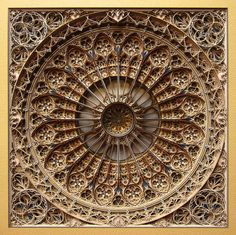Eric Standley's brilliant and one-of-a-kind form of laser-cut paper art imitates the intricate patterns of Gothic and Islamic architecture to create mind-bendingly complex and beautiful mandala-like artworks. Lart Du Papier, Laser Cut Paper, Colossal Art, 3d Laser, Stained Glass Windows, Oeuvre D'art, Paper Cutting, Les Oeuvres, Wood Art