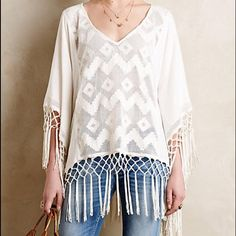 NWOT Anthropologie Fringed Lace Cover-up Flowy and fun top to pair with jeans or pull over your swimsuit to cover up in style. Anthropologie Tops Blouses