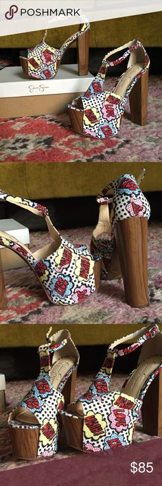 """Jessica Simpson Platforms #kiss #love #mwah These heels give you the confident to do anything! Fun and stylish! Give any day or night outfit a pop! 3"""" heel. 5"""" heel with 2"""" platform. New in box Jessica Simpson Shoes Platforms"""