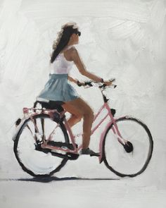 Cycling Woman Painting Art Woman Bike Art PRINT Woman on Bicycle - Art Print - - from original painting by J Coates- Woman on Bicycle – Art Print – 8 x 10 inches – from original painting by J Coates by JamesCoatesFineArt on Etsy Woman Painting, Figure Painting, Painting Art, Edward B Gordon, Watercolor Illustration, Watercolor Art, Bicycle Tattoo, Bicycle Print, Bicycle Design