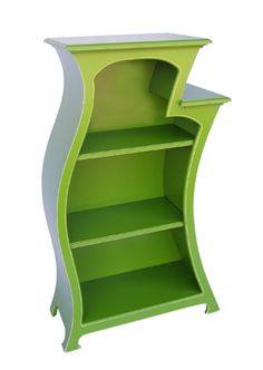 Add traditional frames or your collection of unique pottery!!  This fun, wiggly green bookshelf would look great in a children's room. $1495 at Quirks of Art. *Dr. Seuss, cartoon, whimsical furniture.